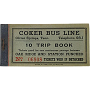 Coker Bus Line Oliver Springs Tenn Oak Ridge Ticket TN Tennessee