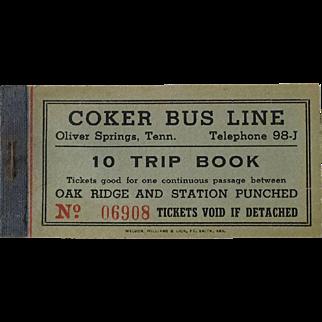 Coker Bus Line Oliver Springs Tenn Oak Ridge Ticket TN Tennessee