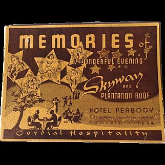 Vintage Souvenir Photograph Hotel Peabody Memphis TN Skyway & Plantation Roof Dancing Cocktails