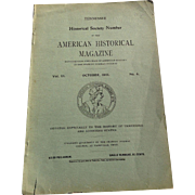 Tennessee American Historical Magazine October 1901 Peabody Normal College Nashville FREE SHIPPING