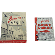 Menu + Advertising Booklet Boone's New England Shore Dinner Restaurant Wharf Portland Maine