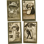 Set of 4 Postcards Jumbo Lids 1909 Millinery Hats Scarecrow