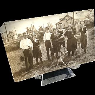 1914 RPPC Postcard The Shore Lot Man Milford CT Conn Connecticut Bathing Suit Dog Beach Advertising