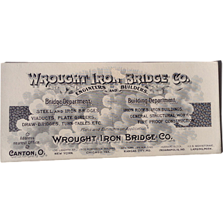 Old Advertising Ink Blotter Wrought Iron Bridge Co Engineer Canton Ohio New York Chicago Kansas City Indianapolis Lansing