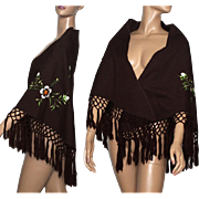 Vintage Shawl//Embroidered //Brown//White Floral//Brown Rayon//1960s Wrap //Tassels//Couture//Nice