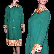Vintage 1930s Coat// Cashmere //Faux Fur//Green// Old Hollywood Glamour// Steampunk Coat//Designer Coat