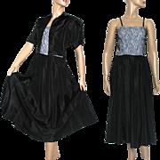 Vintage 1940s 1950s Dress// Designer Carole King//Black //Lace Bodice// Spaghetti Straps//Taffeta//Full Skirt//Bolero Jacket