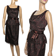 Vintage 1950s Dress// Brown Floral Lace//Jackie Kennedy// Cocktail Party Dress//Couture // Wiggle Dress//
