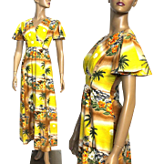 Vintage 1960s Hawaiian Dress// Long Dress//Designer JC Penny//Rayon Yellow Floral//