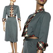 Vintage 1940s Suit// Gray// Bolero Jacket Reversible // Art Deco// WWII// Gray Outfit