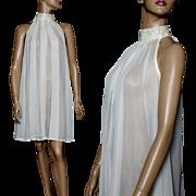 Vintage 1960s Dress//Sheer Nylon// Iridescent Sequins//Choker Collar//White//Sleeveless// Couture //M/L