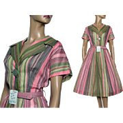 Vintage 1950's Dress// Dead Stock// Kay Windsor Original //Green//Pink//Black//Shirtwaist Dress// Full Skirt//
