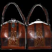 Vintage Purse //Early 1900's//Leather Handbag //Designer Teitzel//Art Deco// Steampunk//Collectible Antique