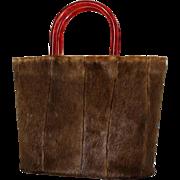 Vintage Purse//Pony Purse// Brown/ Fur /1940s purse/Lucite Handles//Steampunk//Purse/Fur Purse