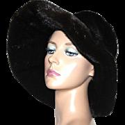 Vintage 1960s Hat// Black Mink//Mink Floppy Hat// Mink Hat// Designer Graggs// Retro// femme fatale