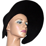Vintage 1940s Hat//Wide Brim Hat//Designer Mr. John//Black Hat//femme fatale