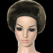 Vintage 1960s Hat// Mink//Sheared// Designer Lewins// Brown//femme fatale//Couture