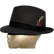 Vintage Fedora//1950s 1960s// Fedora Hat// Designer Churchill LTD//Gray Felt// Snap Brim//Gangster
