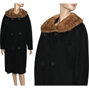 Vintage 1950s Coat // Black Wool//  Mink Collar //Satin Lined// Double Breasted