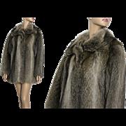 Vintage Coat//Raccoon Fur //Mid-Length// Stroller Coat// Satin Lined// Femme Fatale