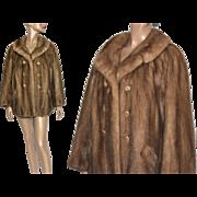 Vintage Mink Coat// Stroller Length// Designer Lewins// Satin Lined// Sable Mink // Double Breasted//Old Hollywood Glamour// Couture