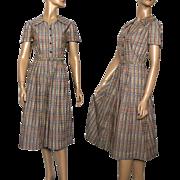 Vintage 1940s Dress//Day Dress//Box Pleated//Ornate Buttons//Matching Belt// Rayon