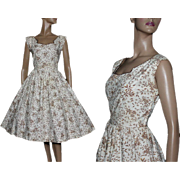 Vintage Dress//1950s// Floral// Novelty Print// Full Skirt// Brown//Off White// Garden Party Dress//Couture