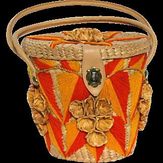 Vintage Purse//1960s Bucket Bag// Handbag //Barrel Purse// Embroidered //Orange//Yellow// Garden Party// Rockabilly