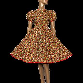 Vintage 1950s Dress// Swing// Full Skirt//Party Dress// Rockabilly// Garden Party// Square Dance