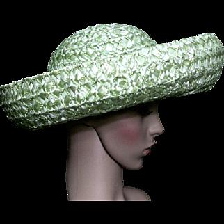 Vintage Hat//1960s // Green// Raffia Straw// Large Rolled Brim//Designer Junior B // Garden Party Hat