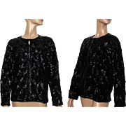 Vintage Sweater// Jacket// Black Sequins// Satin Lined //Black //1960s//Cocktail Party