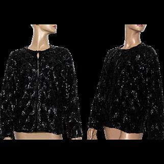 Vintage Sweater// Jacket// Black Sequins// Satin Lined //Black //1960s//Cocktail Party