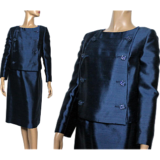 Vintage Suit//1960s //Blue Rhinestone Buttons// Double Breasted //Blue Suit//Satin Lined//Beautiful//Union Label