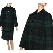 Vintage Suit//1970s//Designer Pendleton Suit//Green Blue Plaid//Satin Lined//Wool//Coat Skirt Outfit