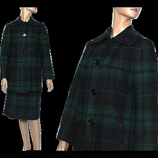 Vintage Suit//1970s//Designer Pendleton Suit//Green Blue Plaid//Satin Lined//Wool//Coat Skirt Outfit