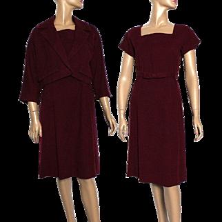 Vintage 1940s Dress//Maroon//40s Dress//Wiggle//Cashmere//Bolero Jacket//Fully Lined