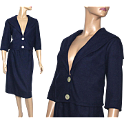 Vintage Suit//1960s//Jacket O Suit//Navy Blue// Designer Miss Pat// Fully Lined// Wool