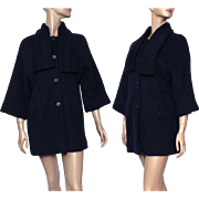 Vintage Coat//1960s// Navy Blue// Satin Lined //Stroller Length // Wool// Bell Sleeves