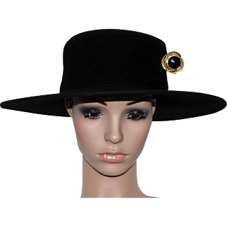 Vintage 1980s Hat // Black // Bolero Hat // Hat Pin // Onyx Stone with Gold Overlay // Large Brim // Designer Frank Olive Private Collection