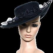 Vintage 1970s Hat// Navy Blue // Wide Brim // Lace Crown // Large Brim // French Design // Designer I. Romanoff // Side Rolled Brim // Felt