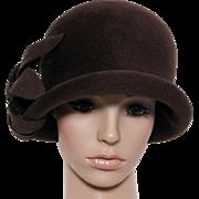 Vintage 1970 Hat // Cloche // Brown // Fur Felt // Floral Ornamentation // Designer Neiman Marcus // 1930s Style