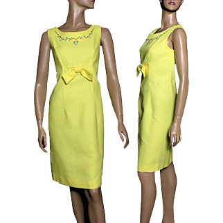 Vintage 1960s Dress// Yellow // Floral Design // Front Bow // Couture // Mad Man //Femme-Fatale //Hourglass Pencil-Wiggle //Rockabilly Garden Party Designer