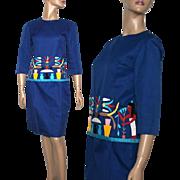 Vintage 1950s Suit // Blue // Egyptian Print // Designer Miss Egypt // Rayon// Outfit // 50s Suit
