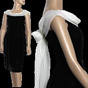 Vintage 1950s Dress// Black Velvet //Cocktail Party // Chiffon Drape // Marilyn Monroe // Couture //