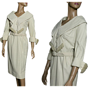 Vintage 1950s Dress//Cream Color// Shawl Collar//Fringing// Fully Lined//Matching Belt//Jackie O//Femme-Fatale//Wool Dress//