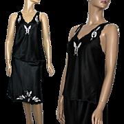 Vintage 1990's Lingerie// Black Lingerie set // Polyester // Slip // Camisole // Embroidered// Sexy // Honeymoon // Designer