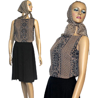 Vintage 1960s Dress// Matching Scarf//Box Pleated Skirt// Brown Top//Designer Howard Wolf//Floral//Polka Dots// Mad Man