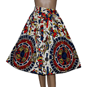 Vintage Skirt // 1950s // Full Circle // Tribal Print // Cotton // Retro // Rockabilly // Swing Skirt