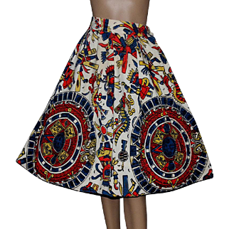 Vintage Skirt // 1950s // Full Circle // Tribal Print // Cotton // Retro // Rockabilly // Swing Skirt