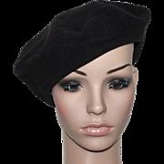 Vintage Hat // 1940s // Black // Tam Hat // Satin Lined // Wool // Retro // Beret // 40s Hat